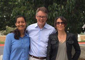 "(L-r) Alan Turing Memorial Scholarship recipient Valeria Gonzales, Sir Dermot Turing and former CNS staff member Kathy Krane. The three and CNS staffer Jennifer Follkestad sat together at a private lunch following Sir Dermot's talk. ""It was a treat,"" said Folkestad. ""He has a charismatic personality and the ability to tell amusing stories.  I just started reading Sir Dermot's  fascinating book about Alan Turing and it's a great read."""